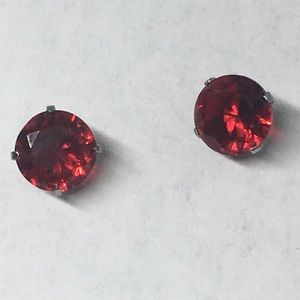 Solitaire Basket Round Ruby Stud Earrings